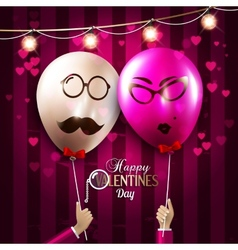 happy Valentines Day card Balloons with vector image