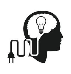 Head brain idea bulb plug engine vector