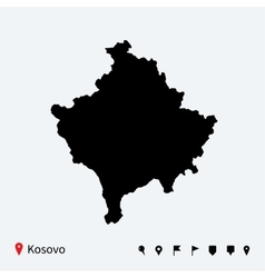 High detailed map of Kosovo with navigation pins vector
