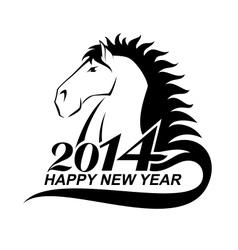 Horse profile is a symbol of 2014 vector image