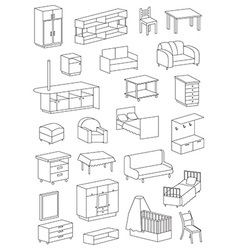 Icons furniture line on a white background vector
