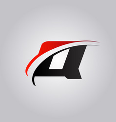 Initial q letter logo with swoosh colored red vector