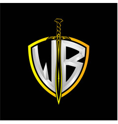 Initials w b is a shield decorated vector