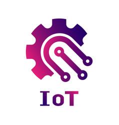 Iot internet things logo template gear vector