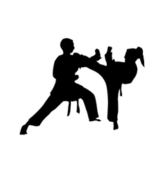 Karate black silhouette vector