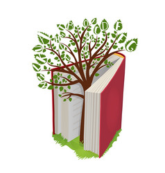 Knowledge tree with letters from open book vector