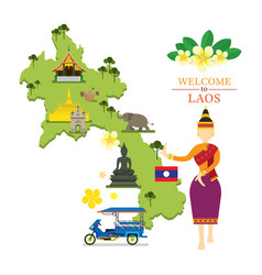 laos map and landmarks with traditional dancer vector image