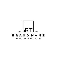 Letter rt square logo finance design vector