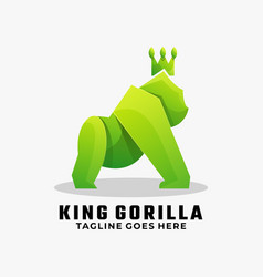 logo king gorilla gradient colorful style vector image