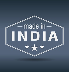 Made in India hexagonal white vintage label vector