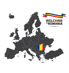Map of europe with the state of romania vector