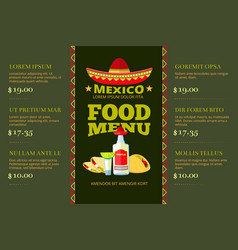 Mexican cuisine food restaurant menu vector