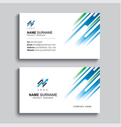 minimal business card print template design blue vector image