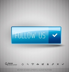 Modern button with FOLLOW US icons set vector
