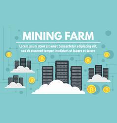 Modern mining farm concept banner flat style vector