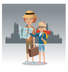 Mother and daughter with map suitcase backpack vector