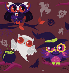 mystery halloween nightbirds flat seamless pattern vector image