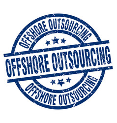 offshore outsourcing blue round grunge stamp vector image