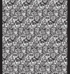 Owls hand drawn seamless pattern vector