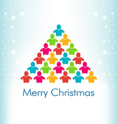 People Christmas Tree Card vector