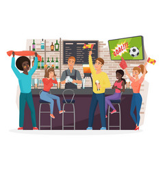 People drinking beer in bar flat vector