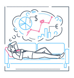 planning while dreaming - line design style vector image
