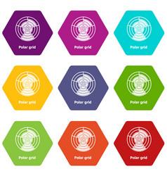 Polar grid icons set 9 vector