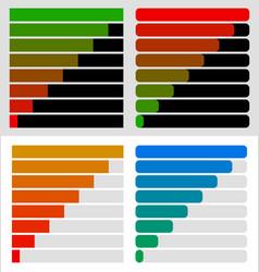 Progress load bar templates set at 8 stages steps vector