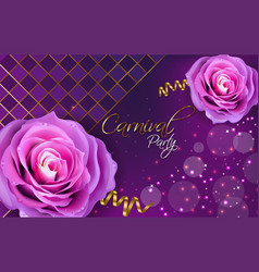 Purple roses realistic violet background vector