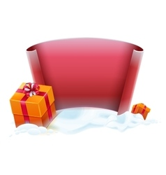 Red scroll and gift boxes in snow Template for vector