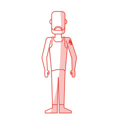 red silhouette shading caricature faceless man vector image