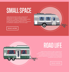 Road life flyers with travel trailers vector