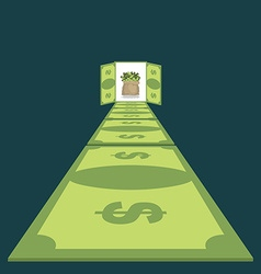 Road of dollars Path to prosperity footpath of vector image