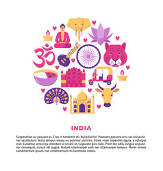 round banner with india national culture and vector image