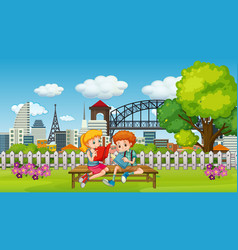 Scene with two children reading book in park vector