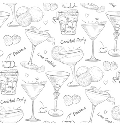 scetch pattern unforgettables cocktails vector image