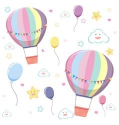 seamless hot air balloon with cute cloud and star vector image
