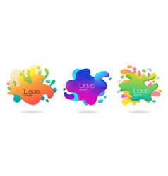 set of abstract flowing liquid elements colorful vector image