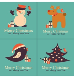 Set of Greeting Christmas Cards vector