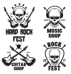 Set of rock and roll music emblems labels badges vector