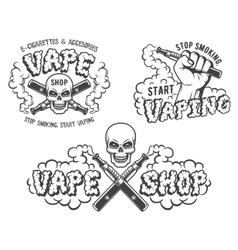 Set of vape e-cigarette emblems vector image