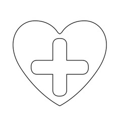 silhouette heart health with cross form vector image
