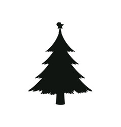 Silhouette pine tree with star christmas vector