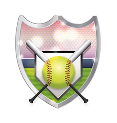 softball badge emblem vector image