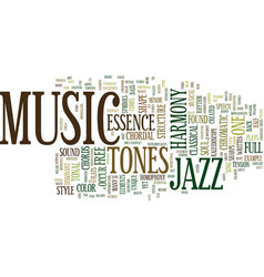 The essence of jazz text background word cloud vector