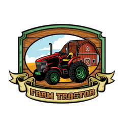 Tractor and farming yard vector