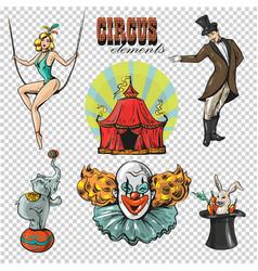 Traveling chapiteau circus retro cartoon icons vector