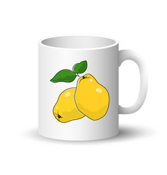 White mug with yellow quince vector