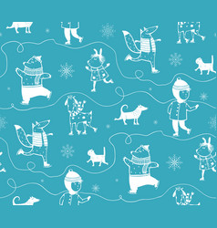 Winter skiing animals seamless pattern vector