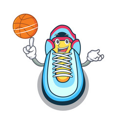 with basketball classic sneaker character style vector image